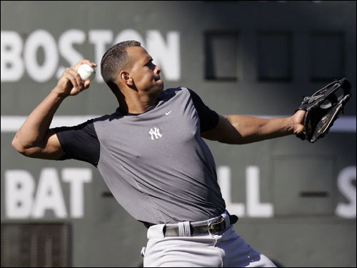 A-Rod threw during warm ups before the game.