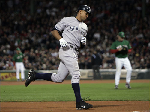 Alex Rodriguez rounded the bases after his fourth-inning home run.