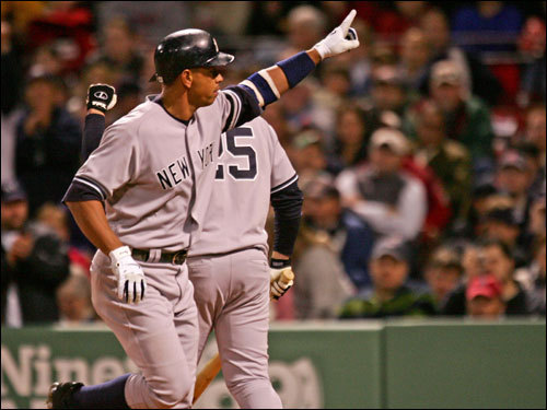 A-Rod signaled to the crowd after crossing the plate in the fourth inning.