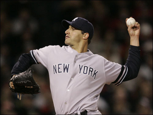 Andy Pettitte threw a pitch in the fourth inning.