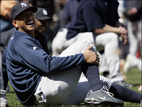 Yankees third baseman Alex Rodriguez smiled while stretching before the game.
