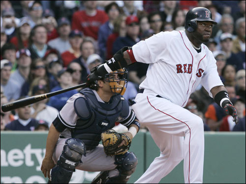 David Ortiz stroked a two-run double in the bottom of the first inning to tie the game at 2-2.