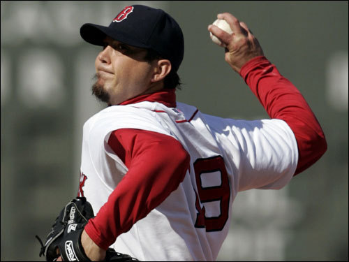 Josh Beckett took the mound for the Red Sox.