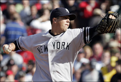 Yankees starter Jeff Karstens gave up two runs on three hits in the first inning.