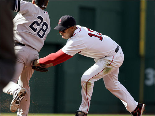 Red Sox second baseman Alex Cora (right) tagged out Melky Cabrera before turning the double play at first base.