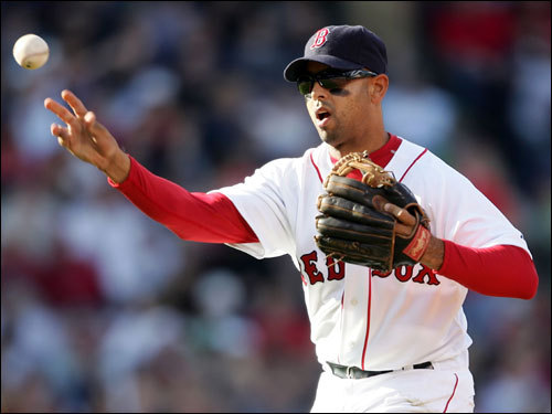 Alex Cora threw to first to get Robinson Cano out in the third inning.