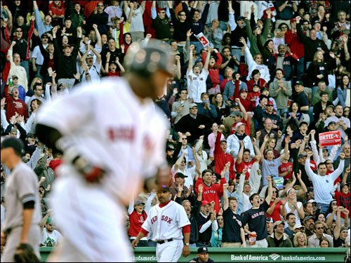 Fenway fans cheered as David Ortiz rounded the bases after his home run.