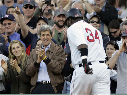 Sen. John Kerry celebrated David Ortiz's (right) fourth inning blast.