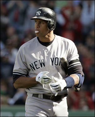 Alex Rodriguez reacted after striking out in the first inning.