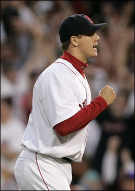 Red Sox closer Jonathan Papelbon pumped his fist after the final out of the Red Sox 7-5 victory over the Yankees.