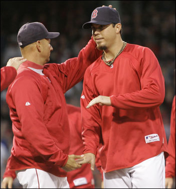 Red Sox manager Terry Francona congratulated Josh Beckett after picking up his fourth win of the season.