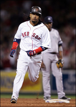 Manny Ramirez rounded the bases after hitting his second home run of the season.