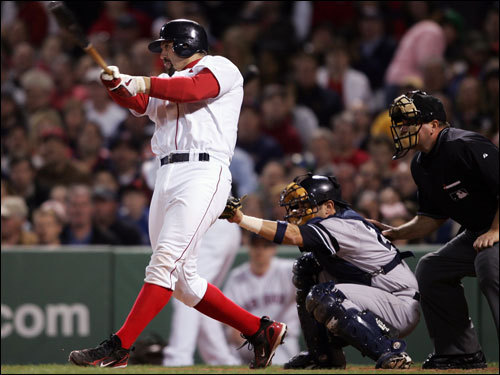 Jason Varitek connected for the fourth consecutive home run for the Red Sox. It was the first time any Sox team had hit back-to-back-to-back-to-back homers.