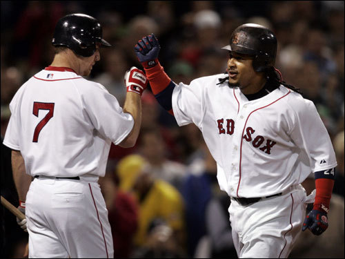 J.D. Drew (left) congratulated Manny Ramirez (right) after Manny's home run.
