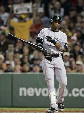Robinson Cano threw his bat after striking out in the third inning.