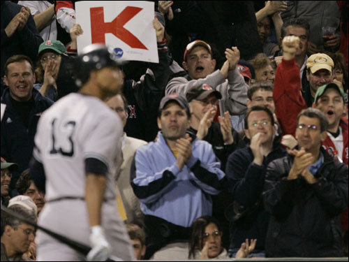 Fans jeered A-Rod after he struck out looking in the third.