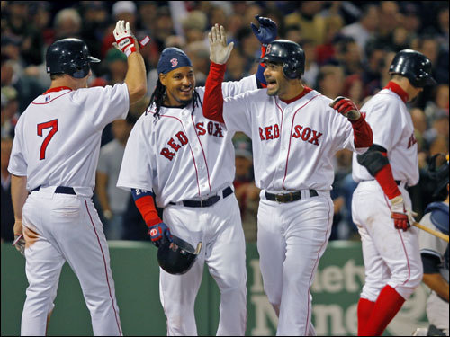 On April 22rd, 2007, the Red Sox hit back to back to back to back home runs against the New York Yankees. This is #6 on Over the Monster's Top 10 of 2007 list