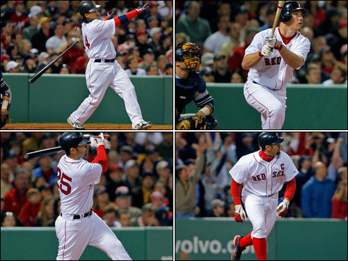 Trailing 3-0 on Sunday night, the Sox hit back-to-back-to-back-to-back homers for the first time in team history. <!-- // define variables var date = new Date(); var current_time = date.getTime(); // write SCRIPT tag to browser document.writeln(' '); // -->