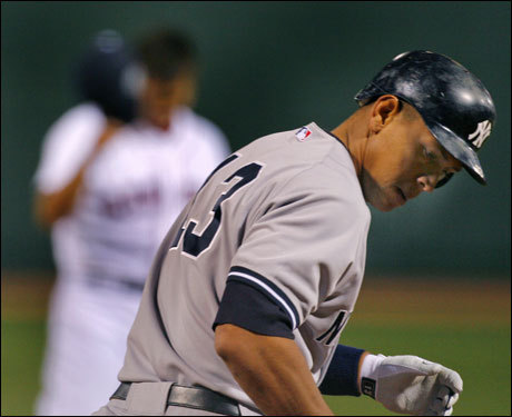 In his first career start against the Yankees, Daisuke Matsuzaka plunked the Yankees&#146; top two stars, Alex Rodriguez and Derek Jeter. <!-- // define variables var date = new Date(); var current_time = date.getTime(); // write SCRIPT tag to browser document.writeln(' '); // -->