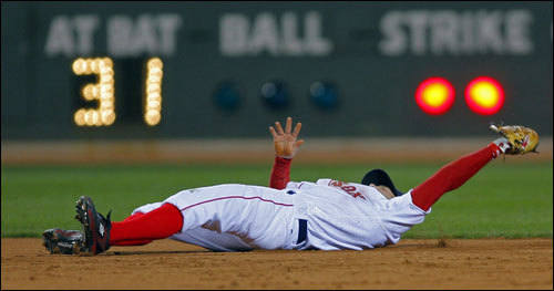Dustin Pedroia made the defensive play of the game, stabbing a liner by pinch-hitter Josh Phelps with two on and two out in the eighth. <!-- // define variables var date = new Date(); var current_time = date.getTime(); // write SCRIPT tag to browser document.writeln(' '); // -->