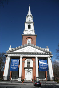 Center Church was founded in New Haven by Puritans in 1638 and was the only church in the colony for 100 years.