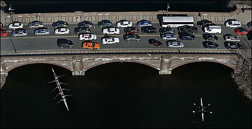 Drivers packed onto this bridge over the Charles River April 20 near John F. Kennedy Street in Cambridge as they made their early-morning commute.