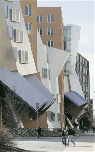The Stata Center at MIT One glimpse of this building and you might think it is something out of 'Alice in Wonderland,'' but the Stata Center is actually home to the Computer Science and Artificial Intelligence Laboratory, the Laboratory for Information and Decision Systems, and the Department of Linguistics and Philosophy at MIT. Designed by Frank Gehry and the firm Gehry Partners, LLP, the building features tilting towers, angled walls, and strange shapes. Pulitzer Prize-winning critic Robert Campbell wrote in the Globe that the Stata Center is 'a work of architecture that embodies serious thinking about how people live and work, and at the same time shouts the joy of invention.' One thing is for sure, this building is far from ordinary.