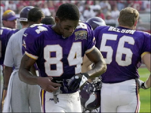 The year 2001 proved to be a costly year for Moss. In August, he was fined $5,000 by the NFL for wearing an unsanctioned hat on the sidelines during an exhibition game. In October, he was fined $5,000 by the league for taunting during a game against Green Bay. In November, he was fined $10,000 by the NFL for strutting backward into the end zone during a game against the New York Giants.
