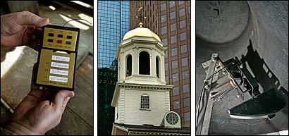 The bell atop Faneuil Hall (center) was inoperable for decades. Both an electronic striker (right) and a new rope were installed. A hand-held device even allows the bell to be rung by remote (left).