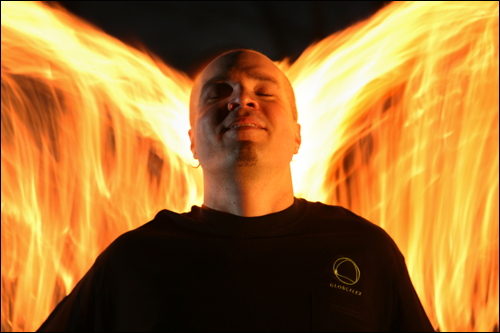 Chad Bennett, 32, of Salem, demonstrated various fire spinning techniques. Every summer for the past two years, Bennett has hosted the Wildfire Festival, a three-day intensive training camp for New England fire performers, belly dancers, and drum makers.