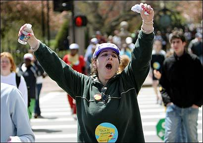 Denise Goldman celebrated as she completed the 20-mile Walk for Hunger yesterday on the Common. The 39th annual event drew more than 43,000 participants and raised $3.3 million for programs in 135 communities across the state.