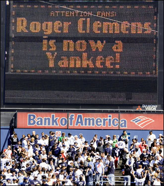 Clemens told the fans, 'Well, they came and got me out of Texas and I can tell you it's a privilege to be back. I'll be talking to y'all soon.' The Yankees' scoreboard summarized the message for the fans.