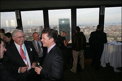 From far left, Howard Marriage of Scotland, Sheridan G. Snyder, a co-founder of Genzyme Corp. who now advises the Scottish government, and Genzyme vice president Mark R. Bamforth, formerly of Scotland, in the Prudential Tower last night.