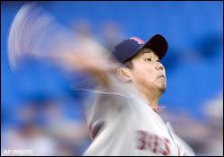 Daisuke Matsuzaka, 5/9/07, vs. the Toronto Blue Jays. Photo courtesy of the Boston Globe.
