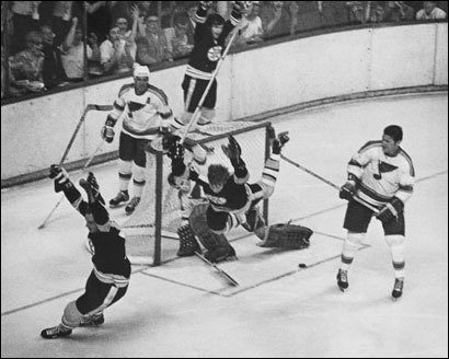 1970 Stanley Cup Finals -- Bruins vs. St. Louis Blues at Boston Garden: Bobby Orr scores the winning goal to win Stanley Cup.