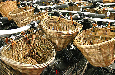 Handlebars and wicker baskets at Young's Bicycle Shop