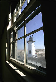 The Race Point Light bed and breakfast helps support the maintenance of the house. This a view from one of the bedrooms.