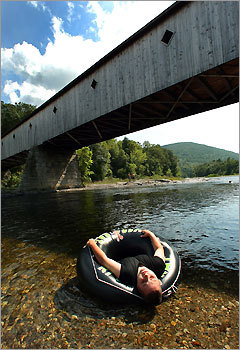 Tubers luxuriate in the Battenkill River