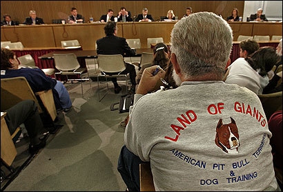 Dog trainer Ken Buzzell made his support for pit bulls clear.