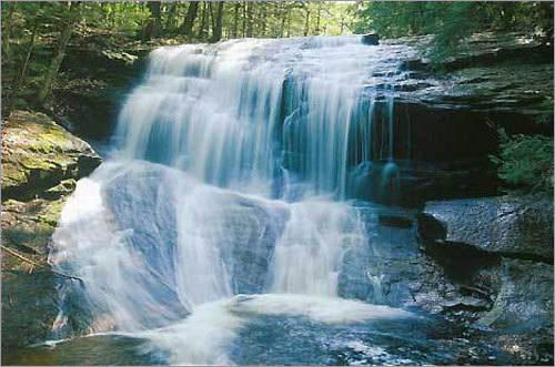 Chapel Brook Falls Williamsburg Road, Ashfield 413-684-0148 Beneath the majesty of Chapel Brook Falls, a cascade from three bedrock ledges, small pools develop that are perfect for a quick dip. The surrounding Berkshires beauty adds to the atmosphere of bathing beneath a waterfall or cooling off after a hike through Pony Mountain.