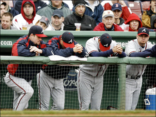Braves players weren't too happy with the result of Game 1, a 13-3 loss.