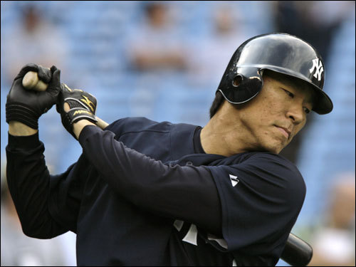 Yankees left fielder Hideki Matsui took batting practice before the game.