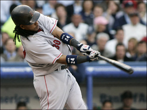 Manny Ramirez hit a pitch to deep right field in the first inning ...