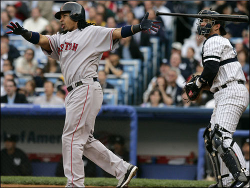 ... Manny Ramirez admired his three-run home run in the first inning.