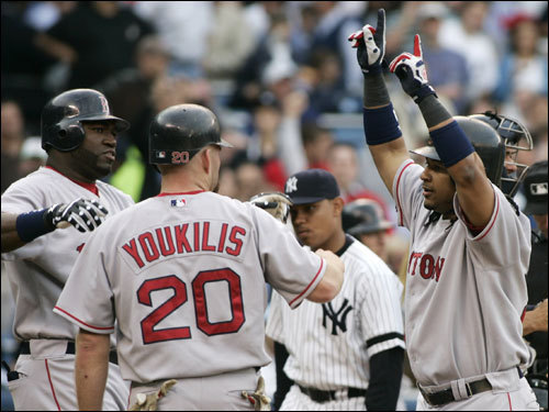 Manny Ramirez (right) celebrated with Kevin Youkilis (20) and David Ortiz (left) after Ramirez's home run.