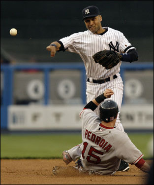 Yankees shortstop Derek Jeter retired Sox second baseman Dustin Pedroia before firing to first to complete the doubleplay in the second inning.