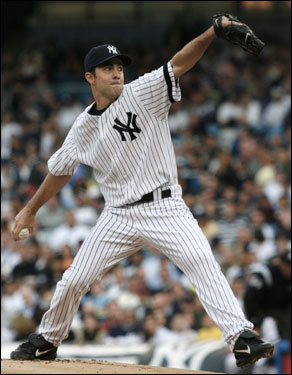 Mike Mussina threw a pitch in the second inning.