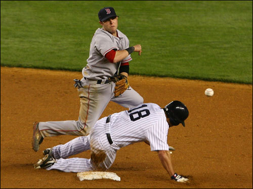 Yankees center fielder Johnny Damon (right) broke up a doubleplay bid by Red Sox second baseman Dustin Pedroia in the fifth inning.