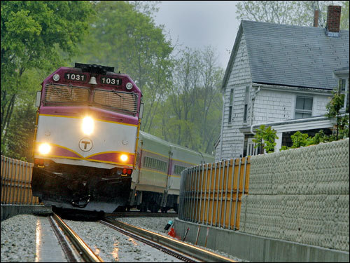 The new Greenbush line approached the Hershey Street crossing in Hingham during its first test run. The Massachusetts Bay Transportation Authority's inaugural test of the Greenbush line came 10 years after it voted to bring back Braintree-Scituate service on a rail bed that had last been used in 1959. Story