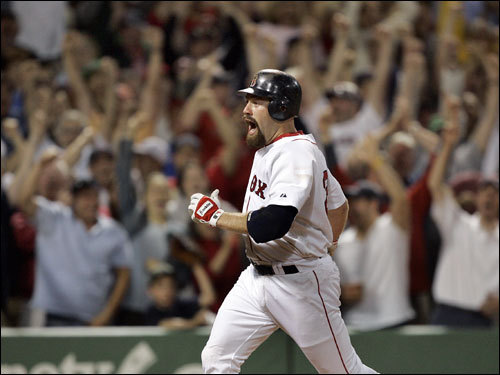 Youkilis admits he's not the fleetest of foot, but he and second baseman Dustin Pedroia have a feud over who is faster: '[Pedroia] thinks he's faster than me,' Youkilis said. 'He really thinks he's faster than me. He's going out and saying he's faster. I don't know if anybody saw, but he hit a ball to right center field that Trot Nixon was running after and he barely got to second base. I'd definitely have been on third base. He's not gifted with speed.'